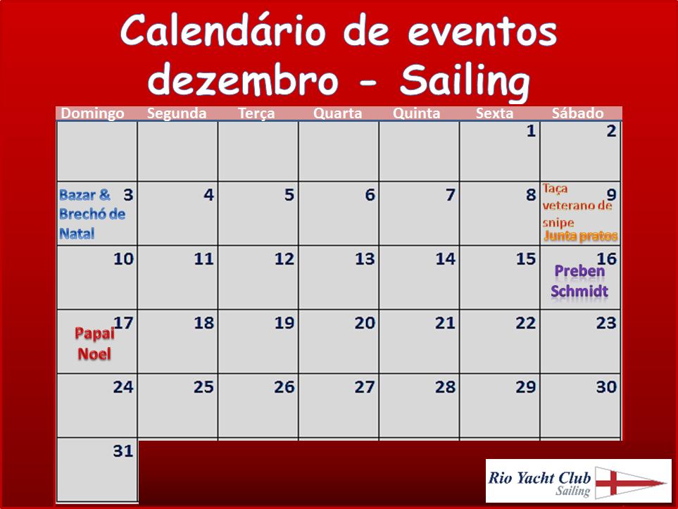 RYC Agenda de eventos de final de ano